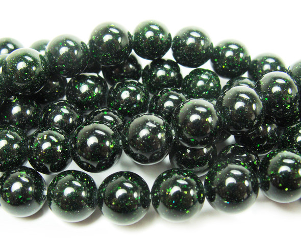 4mm Green Goldstone Round Beads