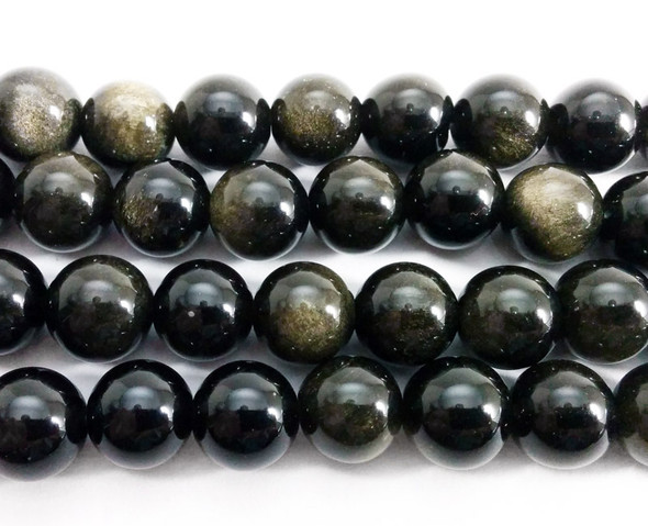 8mm Gold Obsidian Round Beads