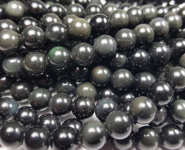 10mm Black obsidian round beads