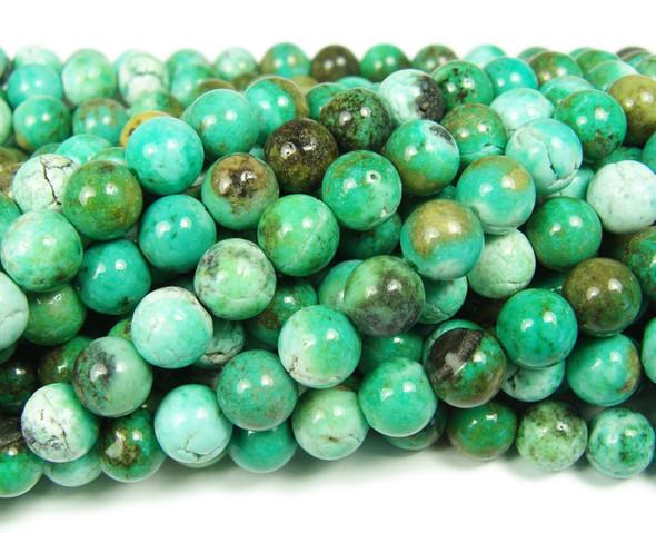 8mm Australian Green Grass Agate Smooth Beads