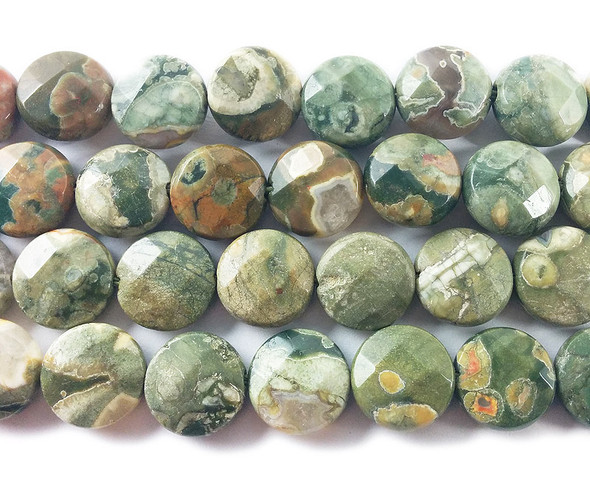 12mm Rhyolite Jasper Faceted Coin Beads