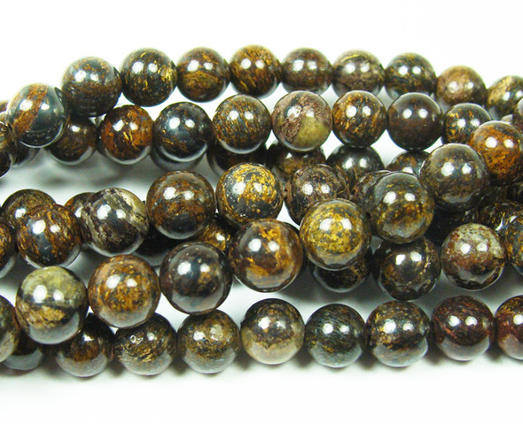 8mm 15.5 Inches Bronzite Smooth Round Beads