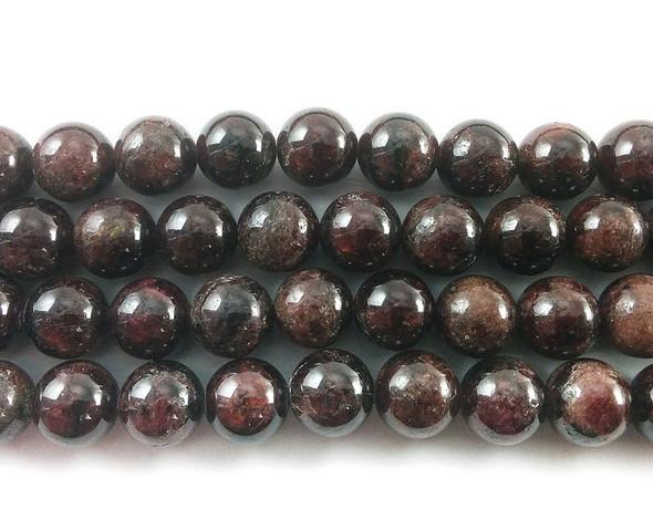 7mm Red garnet round beads with light luminescence