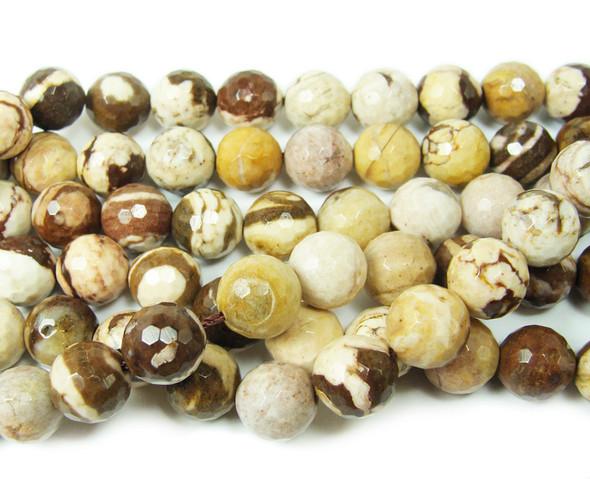 12mm Australian zebra jasper faceted round beads