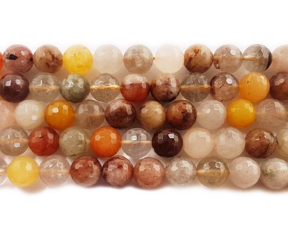 6mm Multi Rutilated Quartz Faceted Round Beads