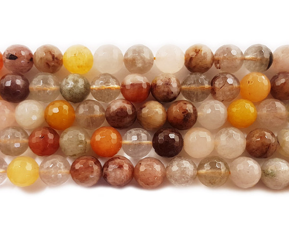 10mm Multi rutilated quartz faceted round beads