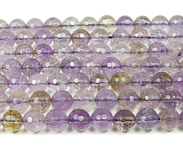 8mm 16 Inches Ametrine Faceted Round Beads