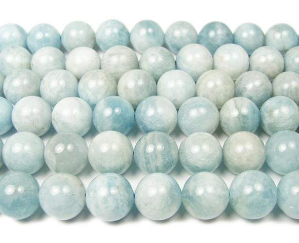 12mm 16 Inches Aquamarine Smooth Round Beads