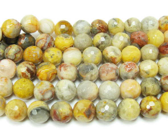 4mm Crazy Lace Agate Faceted Round Beads