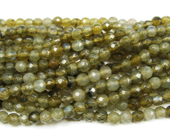 4mm 16 Inches Labradorite Faceted Round Beads