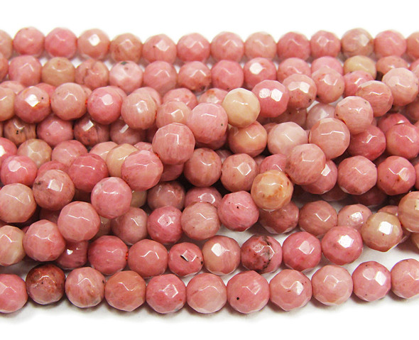 4mm  15 inches Rhodonite faceted round beads
