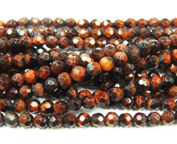 4mm Red tiger eye faceted round beads