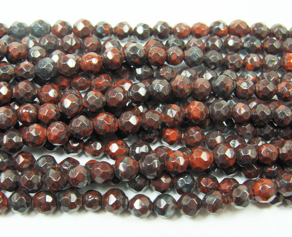 4mm 15 Inches Brecciatted Jasper Faceted Round Beads