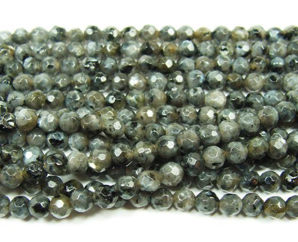 4mm Dark Labradorite Faceted Round Beads