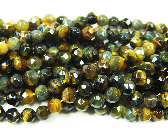 4mm 15 Inches Blue Tiger Eye Faceted Round Beads