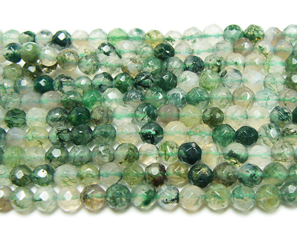 4mm  Moss opal faceted round beads