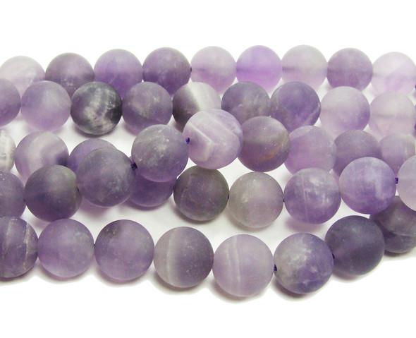 "12mm 15.5"" Strand Amethyst Matte Round Beads"