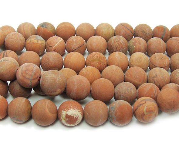 "8mm 15.5"" Strand Red Jasper Matte Round Beads"