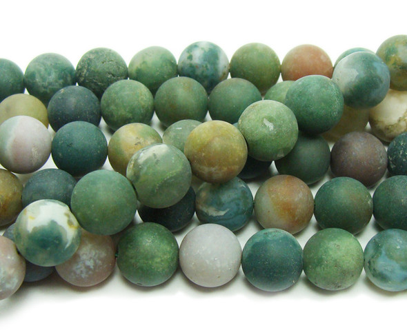 Indian agate matte round beads