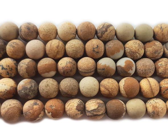 Picture jasper matte round beads