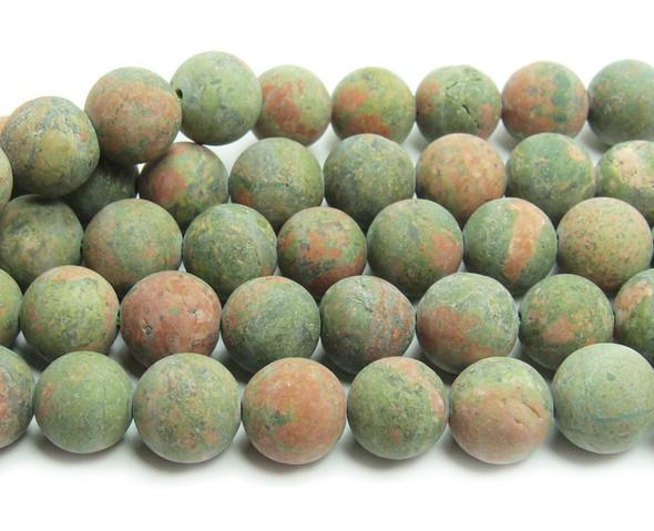 Unakite matte round beads