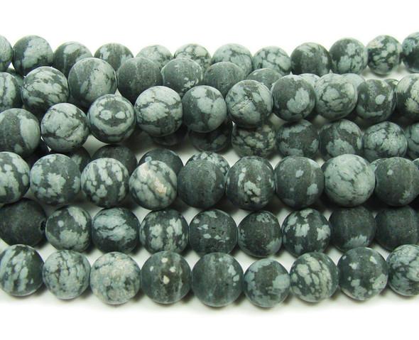 Snowflake obsidian matte round beads