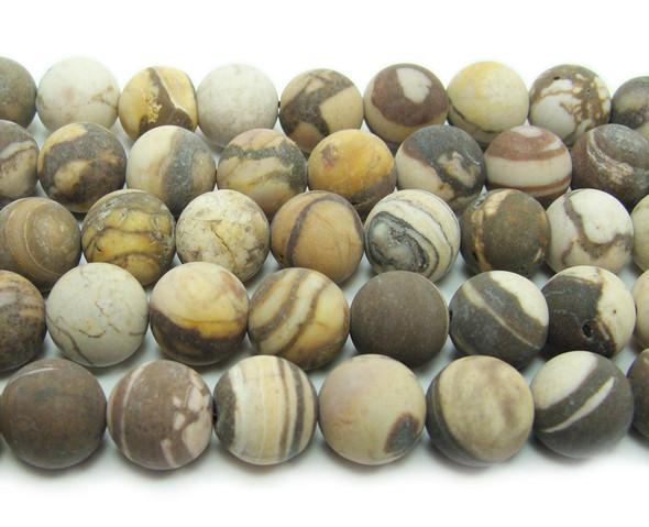 Australian zebra jasper matte round beads