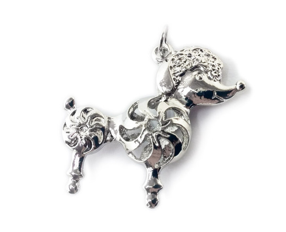 36x44mm Pack Of 2 Pewter Poodle Dog Metal Pendant