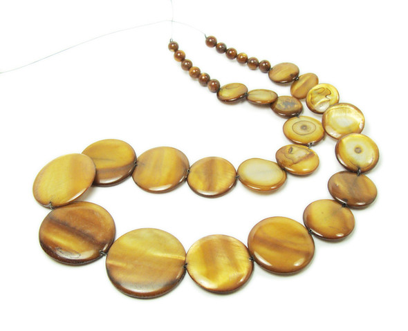 14 - 28mm  18 inches Mother of pearl brown graduated coin beads