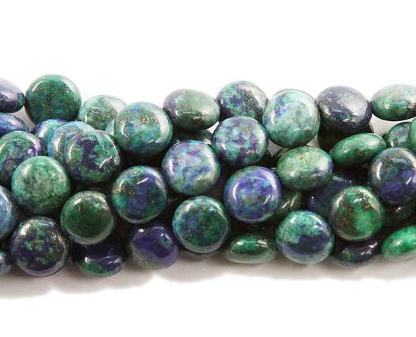 12mm 15.5 Inches Azurite Puffed Coin Beads