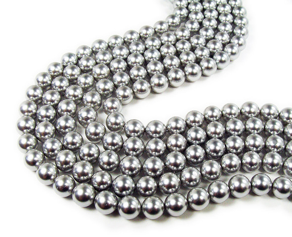 "6mm 16"" Strand Silver Shell Pearl Round Beads"