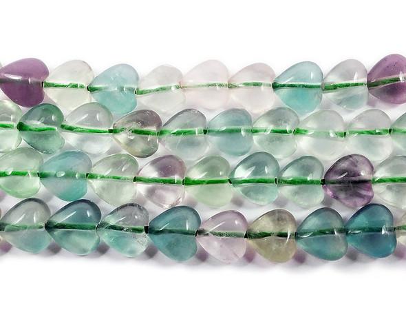 8x8mm Rainbow fluorite heart beads