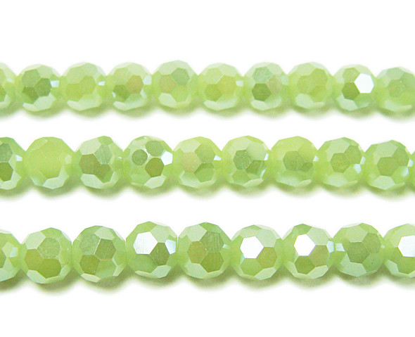6mm  71 beads Light green glass faceted round beads with AB finish
