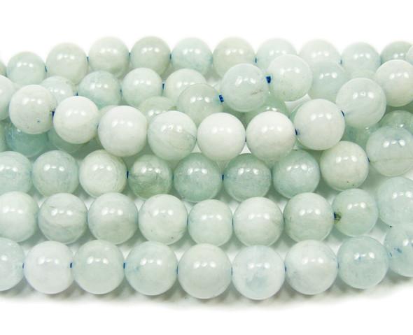 7 - 7.5mm 15.5 Inches Aquamarine Smooth Round Beads