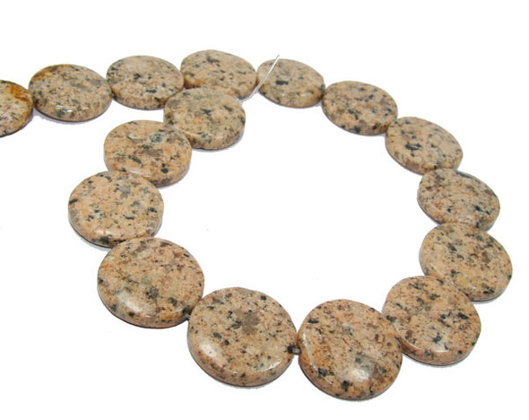 30mm 13 Beads Brown Kiwi Stone Coin Beads
