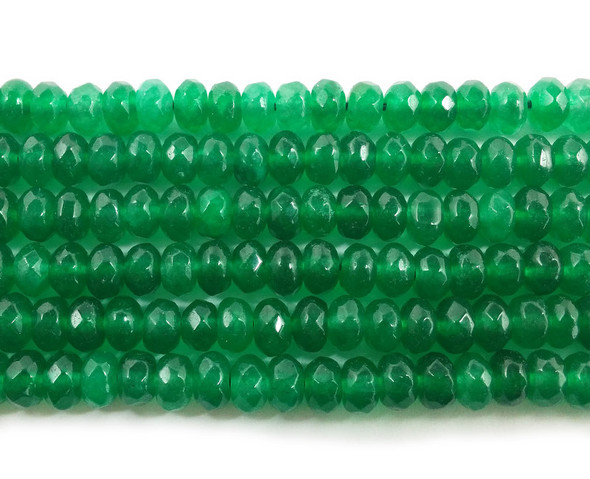 4x6mm Emerald green jade faceted rondelle beads