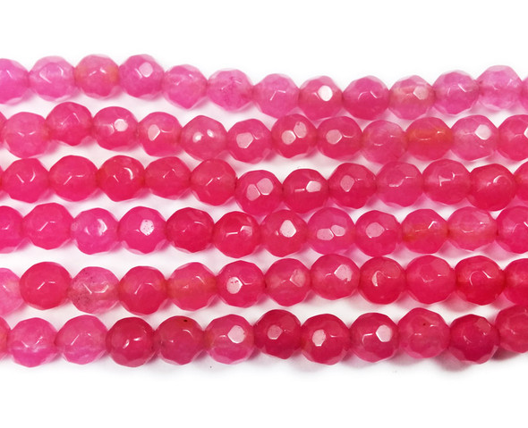4mm Raspberry pink jade faceted round beads