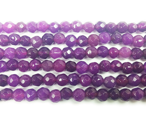 4mm Byzantium purple jade faceted round beads