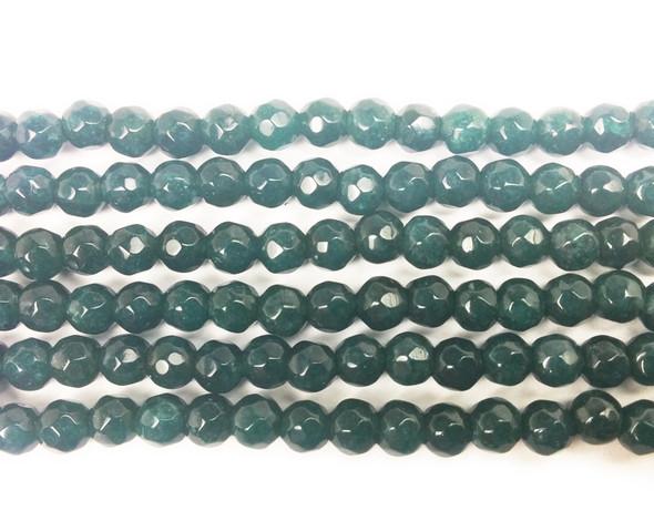 4mm Dark Sea Blue Jade Faceted Round Beads
