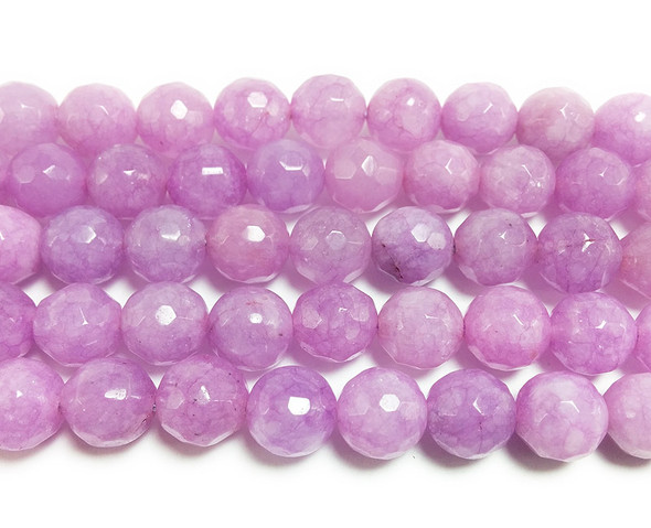 8mm Purple thistle jade faceted round beads