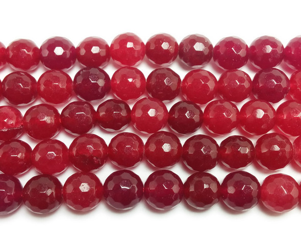 8mm Deep Red Jade Faceted Round Beads