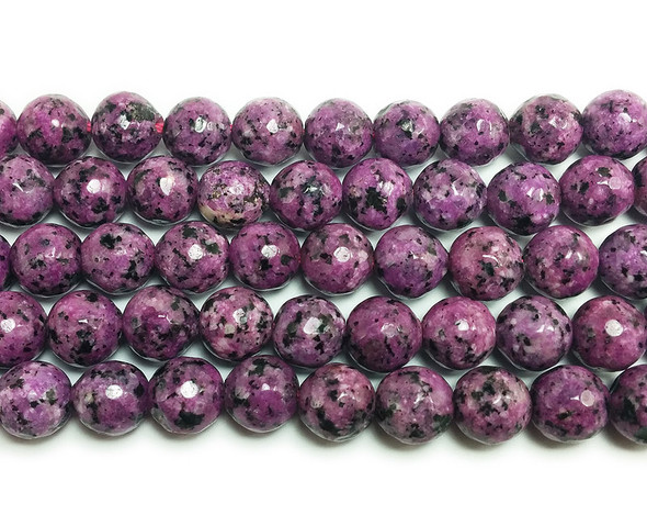 8mm Kiwi purple jade faceted round beads