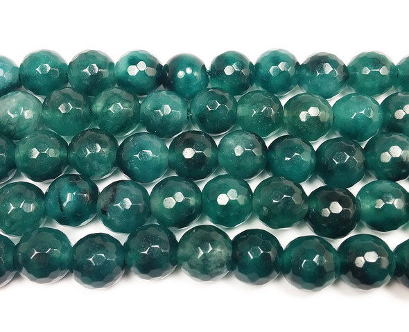 10mm Deep sea green jade faceted round beads