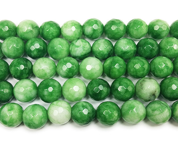10mm Grass green jade faceted round beads