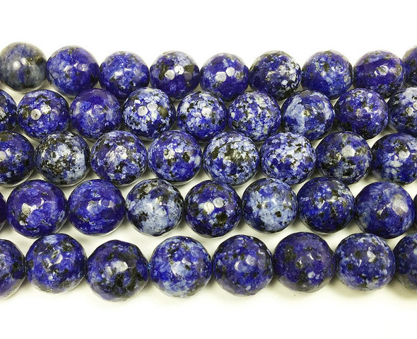 10mm Kiwi blue purple jade faceted round beads