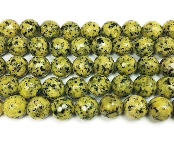 10mm Kiwi yellow green jade faceted round beads