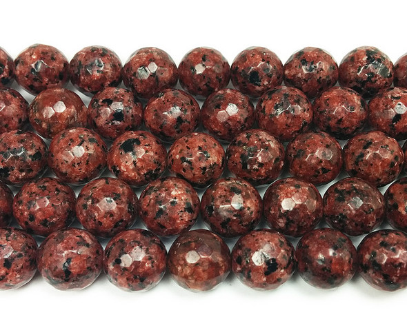 10mm Kiwi brown jade faceted round beads