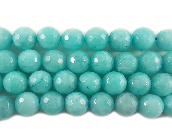 12mm Sea green jade faceted round beads