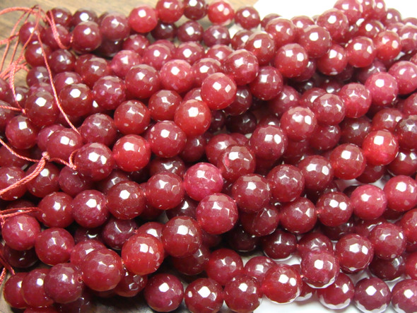 12mm Deep red jade faceted round beads