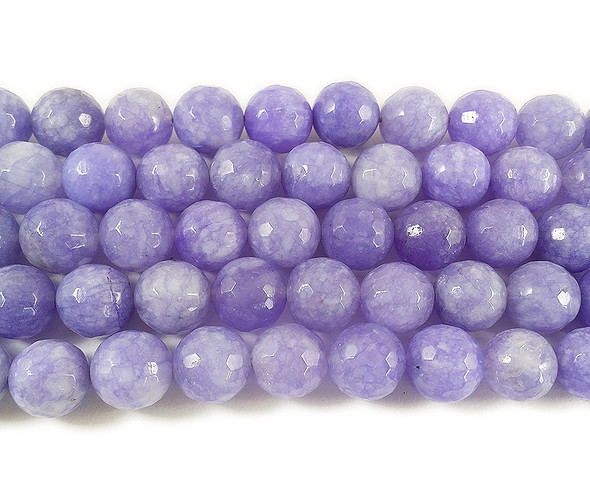 12mm Periwinkle purple jade faceted round beads